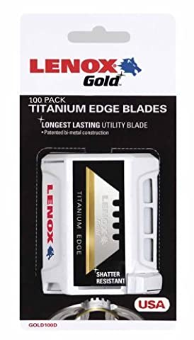 LENOX Tools Utility Knife Blades, Titanium-Coated, 100-Pack (20352GOLD100D) Size: 100 pack, Model: 20352GOLD100D, Hardware Store