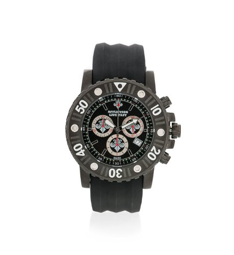 Affliction Men's Leather Chronograph Watch Black/Black