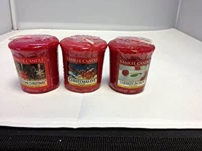 3 Yankee Candle Festive Votive Samplerscherries On Snow Welcome Christmas And Christmas Eve