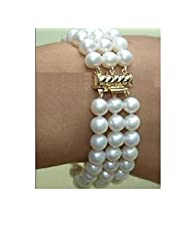 StunningBoutique Fine Jewellery Cultured Freshwater White pearls Bracelet with 18k gold plate clasp