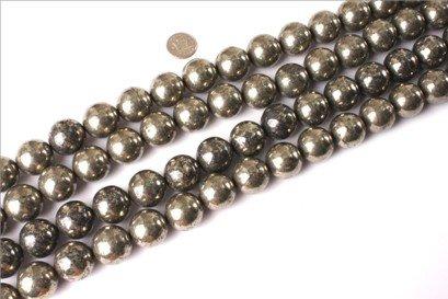20mm round gemstone silver gray pyrite beads strand 15