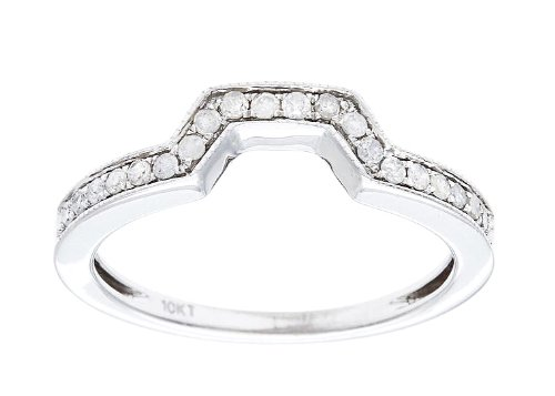 10k White Gold 1/5ct Curved Milgrain Diamond Band Guard(G-H, I1-I2)