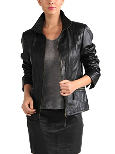 KGN FASHION Women Cow Leather Jacket WC154 S Black