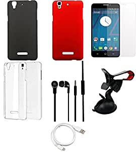 NIROSHA Tempered Glass Screen Guard Cover Case Headphone USB Cable Mobile Holder Combo for YU Yureka Combo