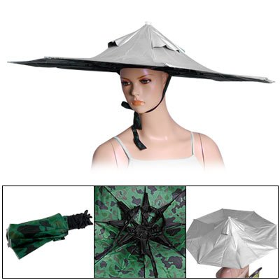 Gray Canopy 8 Metal Ribs Umbrella Headwear Hat for Fishing
