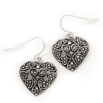 Silver Hearts Earrings Marcasite Burn Silver 'Heart' Drop Earrings - 3cm Length