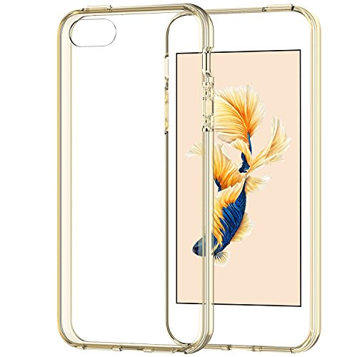iPhone SE Case, JETech Apple iPhone 5/5S/SE Case Bumper Cover Shock-Absorption Bumper and Anti-Scratch Clear Back for iPhone 5 5S SE (Gold) - 0428 (Iphone 5 Bumper With Clear Back compare prices)