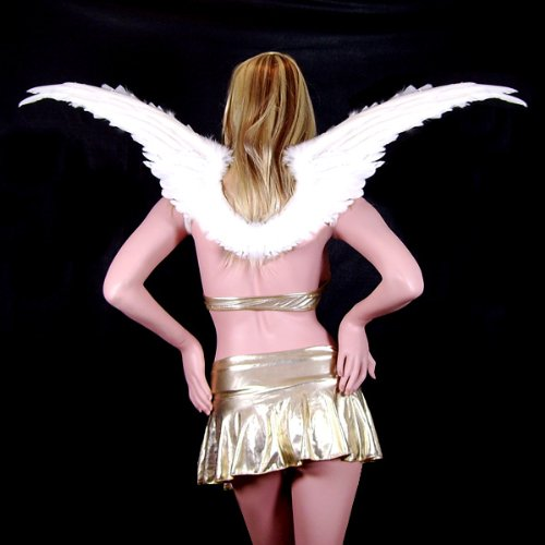 SACAS Large White Feather Angel Fairy Wings Cosplay Halloween with Free Halo