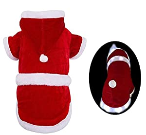 Santa Claus Small Dog Costume Christmas Festive Designer Clothes with LED Stripe PUPTECK