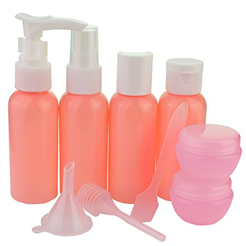 Jmkcoz 9pcs Empty Travel Bottles Portable Refillable Small Bottles for Makeup Toiletries Liquid Containers Leak Proof Pink (Travel Containers Toiletries compare prices)
