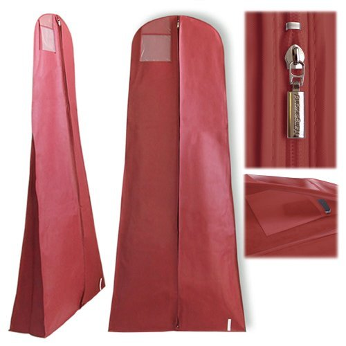 Hangerworld-Funda-impermeable-para-vestidos-de-novia-con-bolsillo-interior-oculto-con-cremallera-183-m-aprox-color-granate