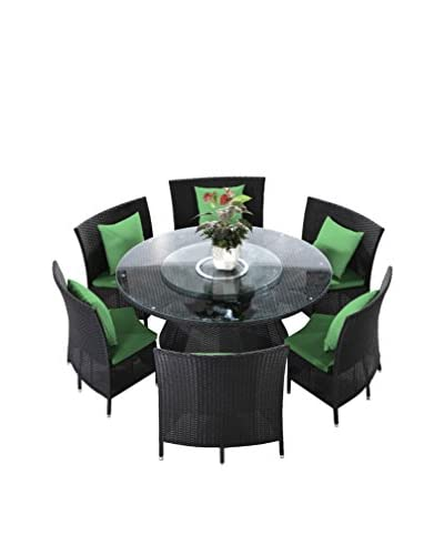 Ceets Nightingale 7-Piece Patio Dining Set, Black/Green