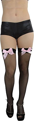 ToBeInStyle Women's Fishnet Thigh High with Satin Bow Stockings Tights Hosiery