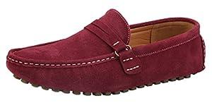 JINBEILE Men's Classic Suede Leather Slip-On Penny Loafer Burgundy EU44