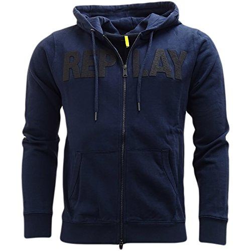 Replay -  Maglione  -  Felpa  - Basic - Con cappuccio  - Maniche lunghe  - Uomo blu navy Medium