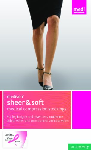 Medi Sheer&Soft Thigh High With Silicone Band 20-30Mmhg Open Toe, Iv, Ebony front-622491