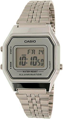 Casio Ladies Mid-Size Silver Tone Digital Retro Watch LA-680WA-7DF 0