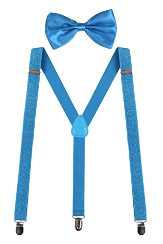 Sunny Ocean Blue Bow Tie and Suspenders Set for Men Clip On Bowties Glitter Blue (Glitter Suspenders)