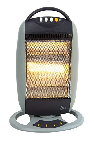 KLIMATRONIC Halogen-Standheizer Heat Halogen 1200 [Für Räume bis 40 m³ (~17 m²), ohne Nebeneffekte, oszillierend, max. 1200 Watt]