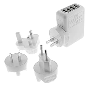 EZOPower 4-Port USB Wall Charger Travel Kit with Interchangeable Plugs (US, UK, EU, AU)