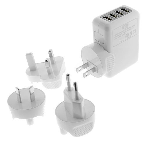 EZOPower White 4-Port USB Travel Wall Charger with 4 interchangeable wall plugs (US, UK, EU and AU) for iPhone 4/4s , iPod , Kindle Fire Tablet and other Cellphone /Tablet / MP3 Player USB Powered Devices -Retail Package