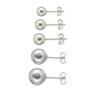 Set of 5 Pairs Sterling Silver Round Ball Stud Earrings (2mm-6mm); Comes With Free Gift Box