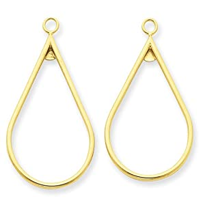 14k Yellow Gold Polished Teardrop Earring Jackets Real Goldia Designer Perfect Jewelry Gift