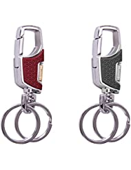 City Choice Combo Of 3718 Black & Brown Omuda Double Ring And Hook Metal Keychain