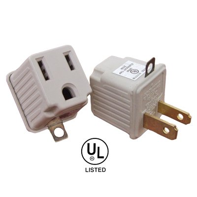 3 To 2 Prong Grounding Outlet Adapter. 2 Pack