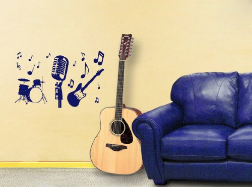 Housewares Vinyl Decal Music Instruments Guitar Drums Microphone Home Wall Art Decor Removable Stylish Sticker Mural Unique Design For Nursery Room