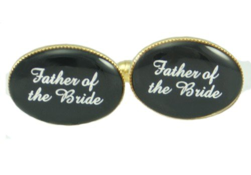 Design-Link Father Of The Bride Personalised Wedding Cufflinks Gold Plated Black Background