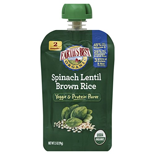 Earth's Best Organic Stage 2, Spinach, Lentil & Brown Rice, 3.5 Ounce Pouch (Pack of 12)