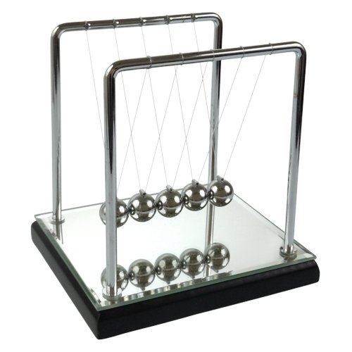 Newton'S Cradle - 5 Inch, Mirror/Wood Base, Black front-554343