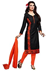 Ethnic For You Black And Orange Cotton Top Embroidered Work With Border Unstiched Dress Material