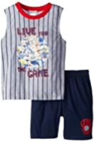 Komar Kids Big Boys' Baseball Glow In The Dark Pajama Short Set