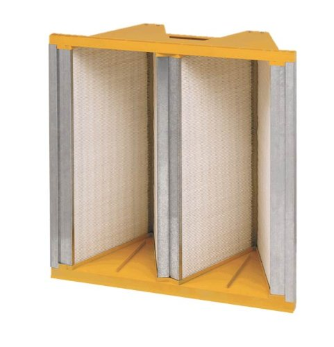 "Filtration Group 41254 Titan FP 2V Mini-Pleat Air Filter, Wet Laid Micro-Fiberglass, Yellow/White, 11 MERV, Dual direction media, 24"" Height x 24"" Width x 12"" Depth (Case of 1)"