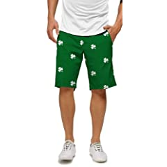 Loudmouth Golf Mens Shorts: Embroidered White Shamrocks - Size 40 by Loudmouth Golf