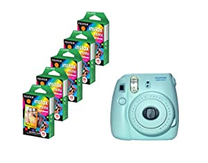 Fujifilm Instax Mini 8 Blue Camera + Mini Rainbow Colored Border 50 images