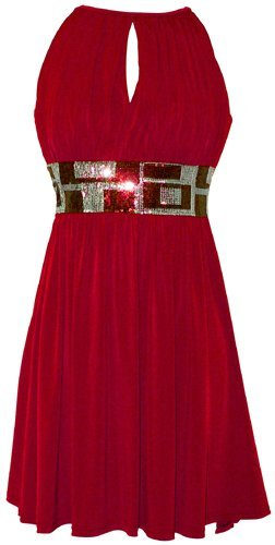 Stretch Jersey Knee-length Party Cocktail Dress Sequin Trim, Large, Red