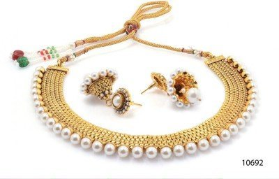 YouBella Traditional Pearl Temple coin Necklace Set for Women