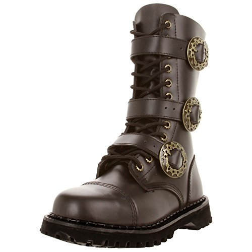 Brown-Leather-MENS-SIZING-Combat-Boots-Gothic-Steampunk-Boots-Hardware