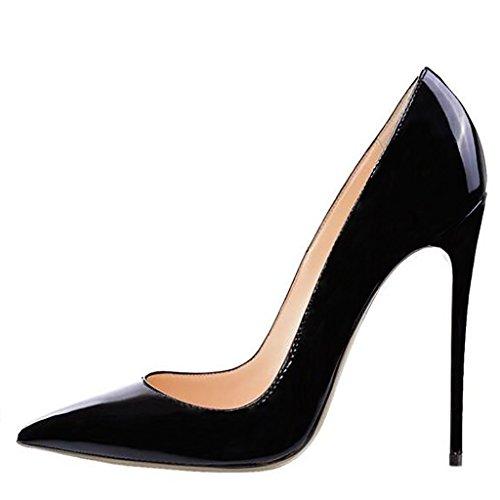 Mavirs Women's Cymn Black Pointed Toe High Heel Pumps Slip on Party Dress Stiletto Shoes 13
