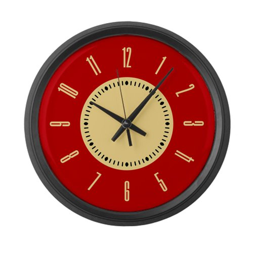Retro Red Large Wall Clock By Cafepress Black