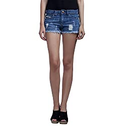MansiCollections Solid Women's Blue Denim Shorts (34)