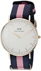 Daniel Wellington Women's 0505DW Winchester Stainless Steel Watch With Striped Nylon Band