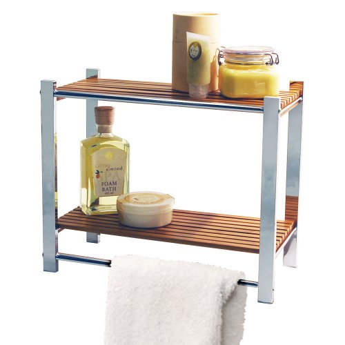 BAMBOO - Bathroom Wall Storage Shelf / Towel Rail - Silver / Natural