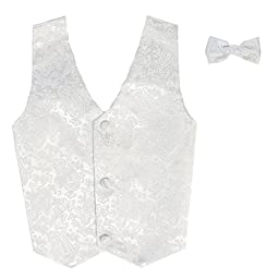 Vest and Clip On Boy Bowtie set - WHITE PAISLEY - Old Style - 4/5