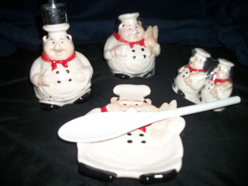 Set Of Italy Fat Chef Spoon Rest/Fat Chef With Scrubber/Fat Chef Salt And Pepper/Lotion Or Soap Dispenser