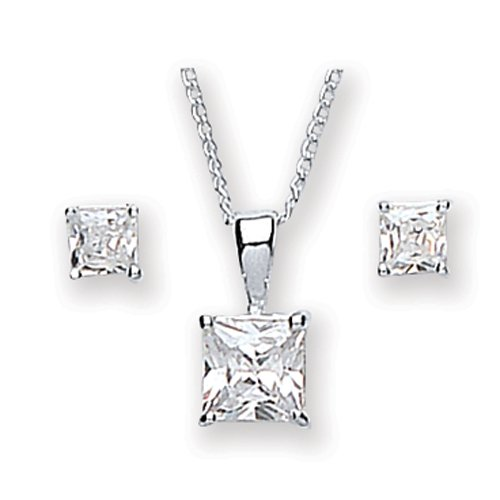 Chic Silver Cubic Zirconia Square Pendant and Earring Set with 46cm Chain
