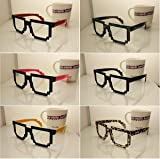 Everglamour Retro 8-Bit Old School Novelty Nerd Geek Gamer Mosaic 2-Tone Pixel Glasses Frame - All Black